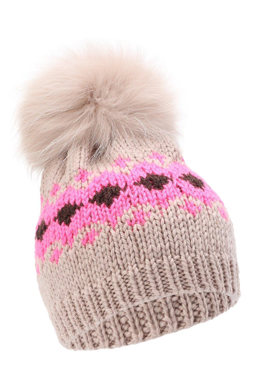 Детского шерстяная шапка CASILDA Y JIMENA розового цвета, арт. 775153249   Фото 1 (Материал: Шерсть)