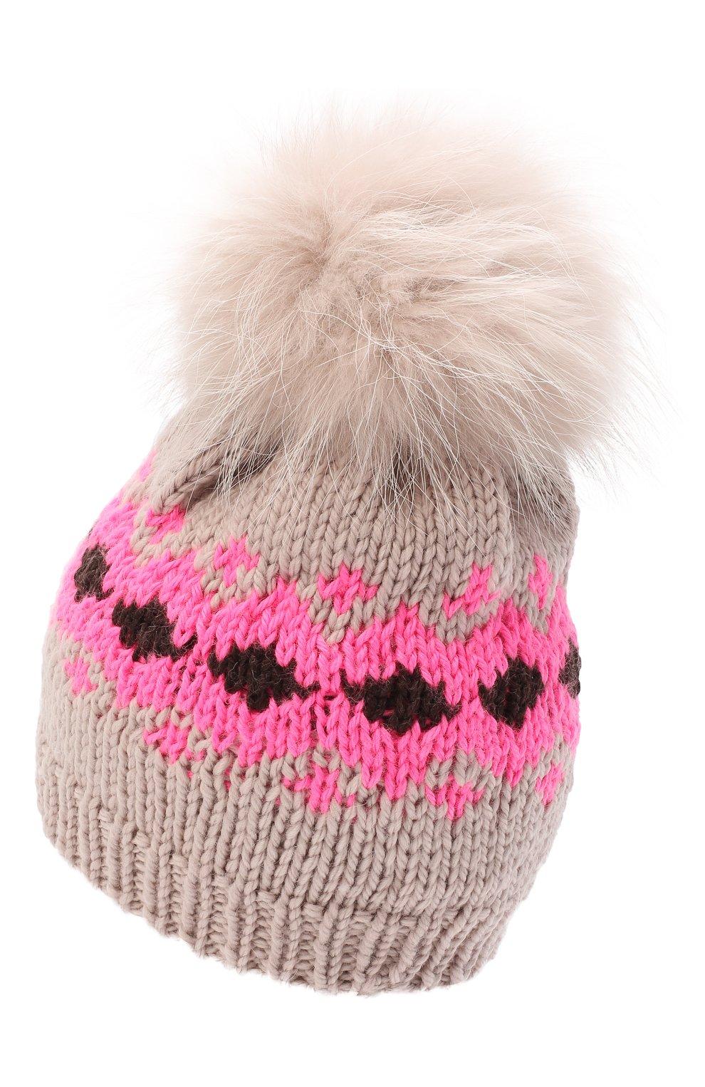 Детского шерстяная шапка CASILDA Y JIMENA розового цвета, арт. 775153249   Фото 2 (Материал: Шерсть)
