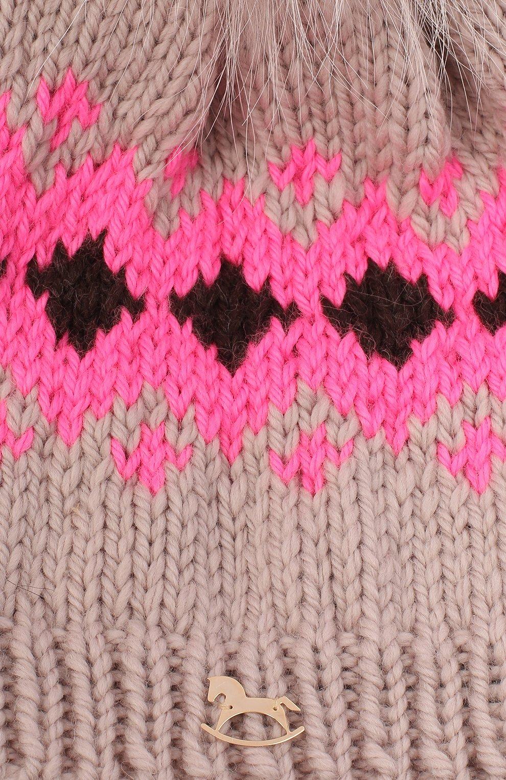 Детского шерстяная шапка CASILDA Y JIMENA розового цвета, арт. 775153249   Фото 3 (Материал: Шерсть)