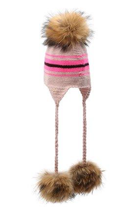Детского шерстяная шапка CASILDA Y JIMENA розового цвета, арт. 775163249 | Фото 2