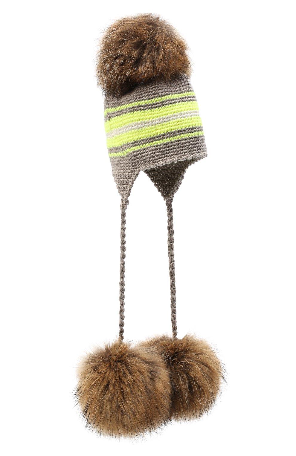 Детского шерстяная шапка CASILDA Y JIMENA светло-коричневого цвета, арт. 775163260 | Фото 1 (Материал: Шерсть)