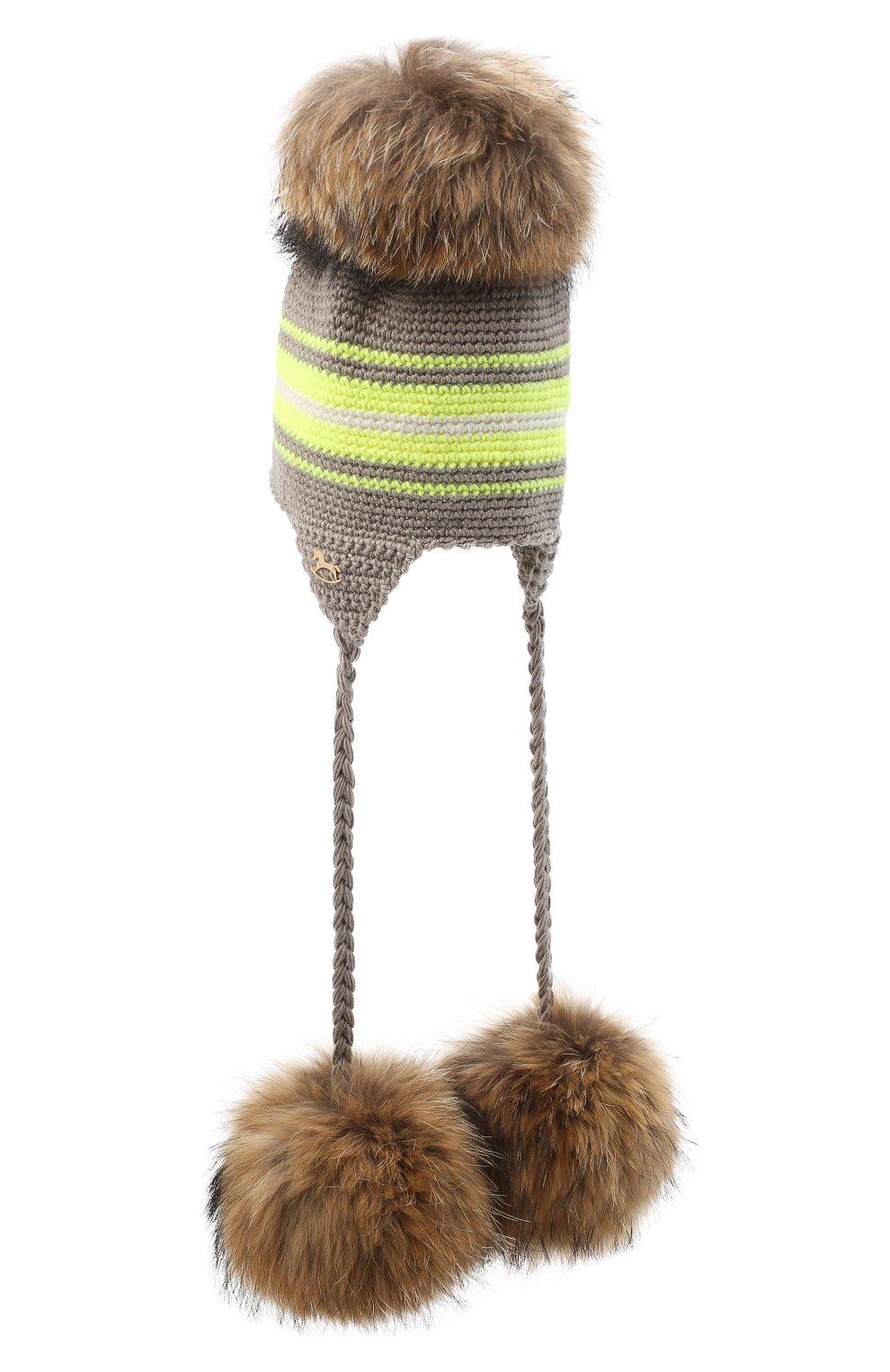 Детского шерстяная шапка CASILDA Y JIMENA светло-коричневого цвета, арт. 775163260 | Фото 2 (Материал: Шерсть)