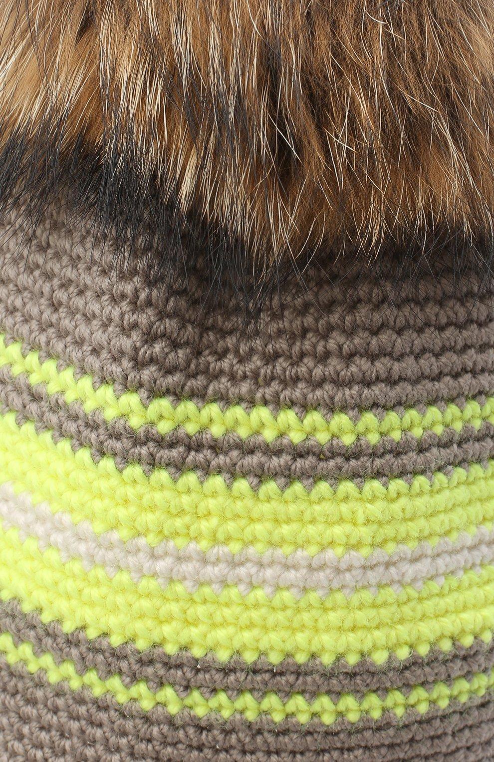 Детского шерстяная шапка CASILDA Y JIMENA светло-коричневого цвета, арт. 775163260 | Фото 3 (Материал: Шерсть)