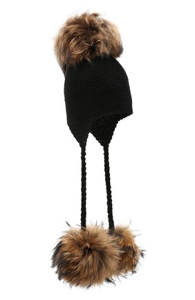 Детского шерстяная шапка CASILDA Y JIMENA черного цвета, арт. 775173007 | Фото 1