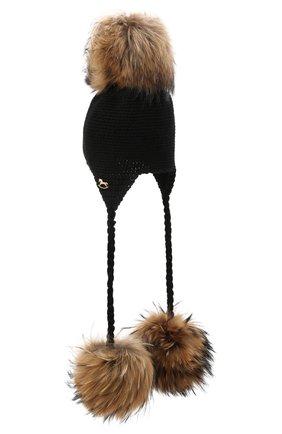 Детского шерстяная шапка CASILDA Y JIMENA черного цвета, арт. 775173007 | Фото 2