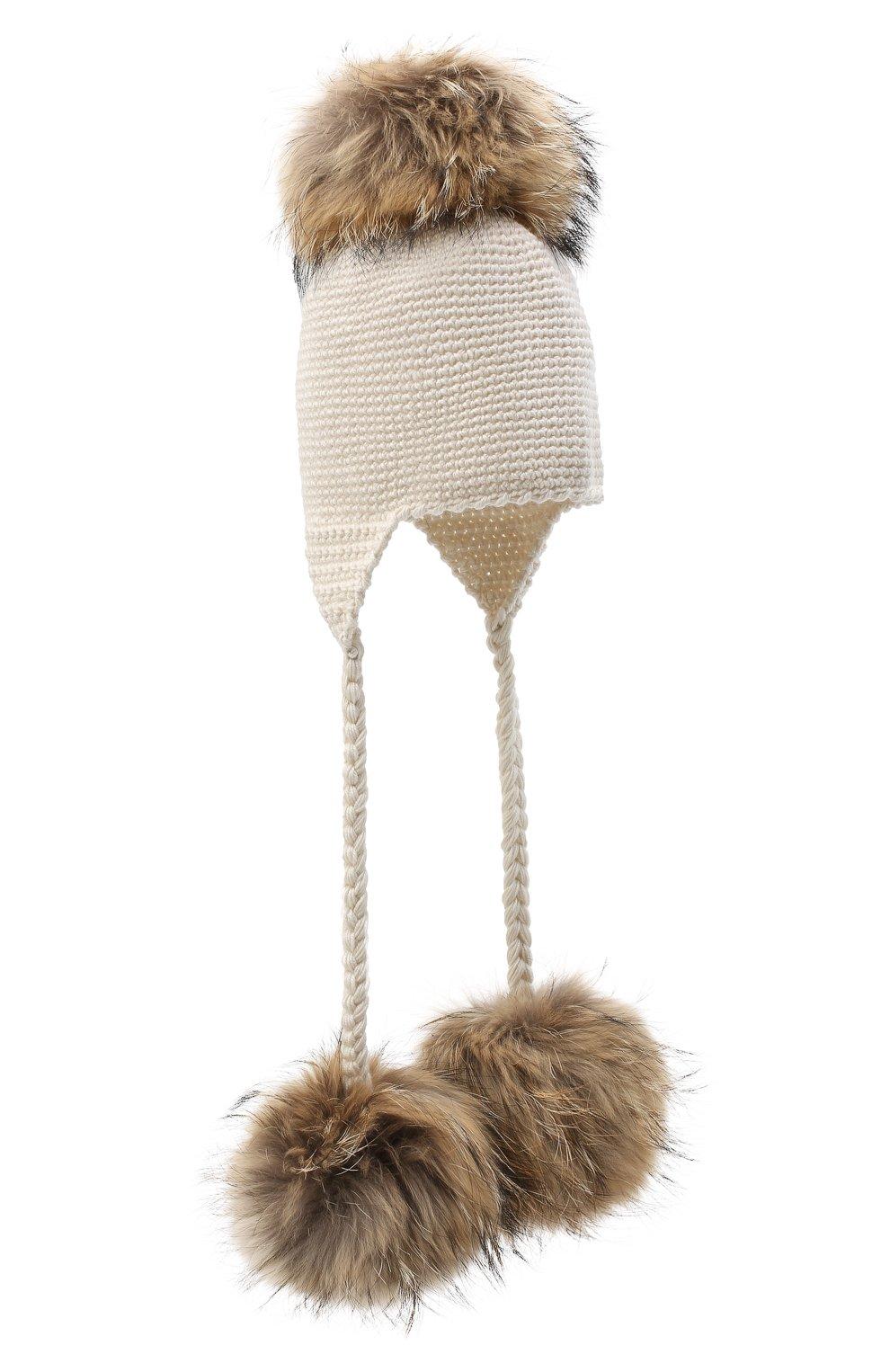 Детского шерстяная шапка CASILDA Y JIMENA кремвого цвета, арт. 775173022 | Фото 1 (Материал: Шерсть)