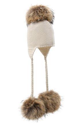 Детского шерстяная шапка CASILDA Y JIMENA кремвого цвета, арт. 775173022 | Фото 1