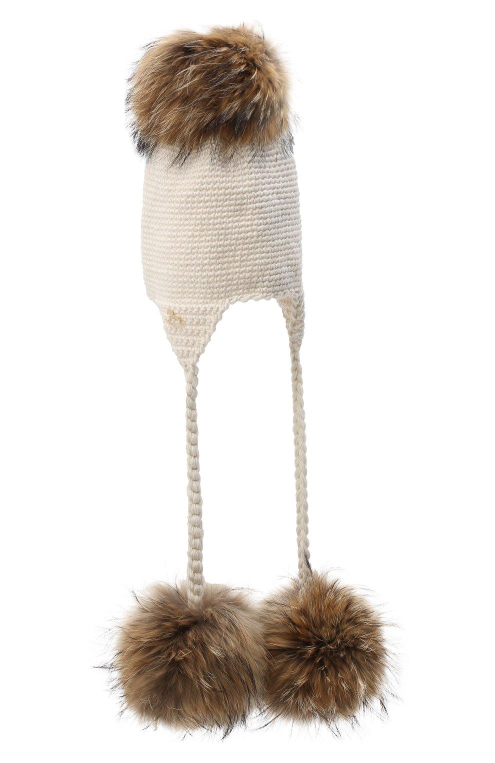 Детского шерстяная шапка CASILDA Y JIMENA кремвого цвета, арт. 775173022 | Фото 2 (Материал: Шерсть)