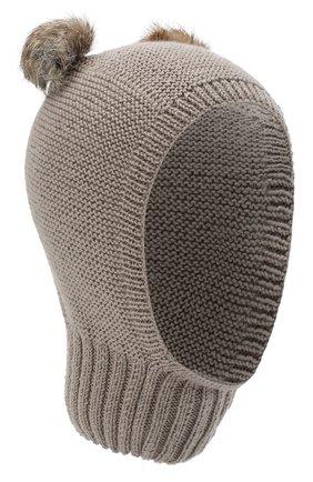 Детского шерстяная шапка CASILDA Y JIMENA светло-коричневого цвета, арт. 775413019 | Фото 1