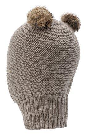 Детского шерстяная шапка CASILDA Y JIMENA светло-коричневого цвета, арт. 775413019 | Фото 2