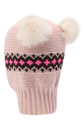 Детского шерстяная шапка CASILDA Y JIMENA розового цвета, арт. 775415249 | Фото 2