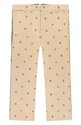 Детские хлопковые брюки BURBERRY бежевого цвета, арт. 8036471 | Фото 1