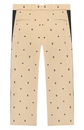 Детские хлопковые брюки BURBERRY бежевого цвета, арт. 8036471 | Фото 2