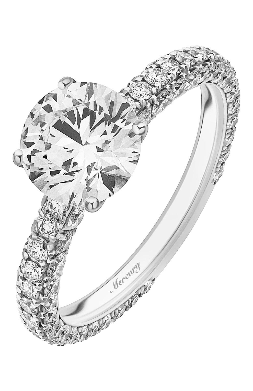 Женские кольцо MERCURY бесцветного цвета, арт. MR150WRDD | Фото 1 (Материал сплава: Белое золото; Драгоценные камни: Бриллианты)
