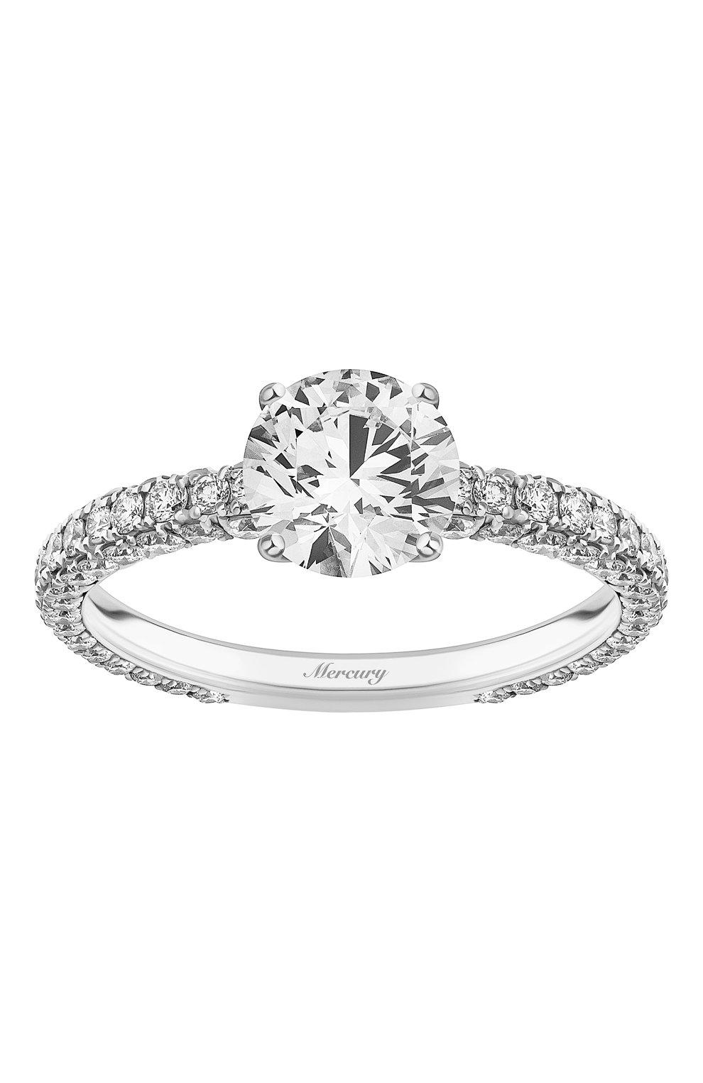 Женские кольцо MERCURY бесцветного цвета, арт. MR150WRDD | Фото 2 (Материал сплава: Белое золото; Драгоценные камни: Бриллианты)