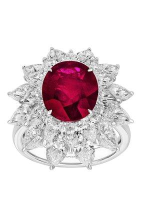 Женские кольцо MERCURY бесцветного цвета, арт. MR19879WR | Фото 2 (Материал сплава: Белое золото; Драгоценные камни: Рубины)