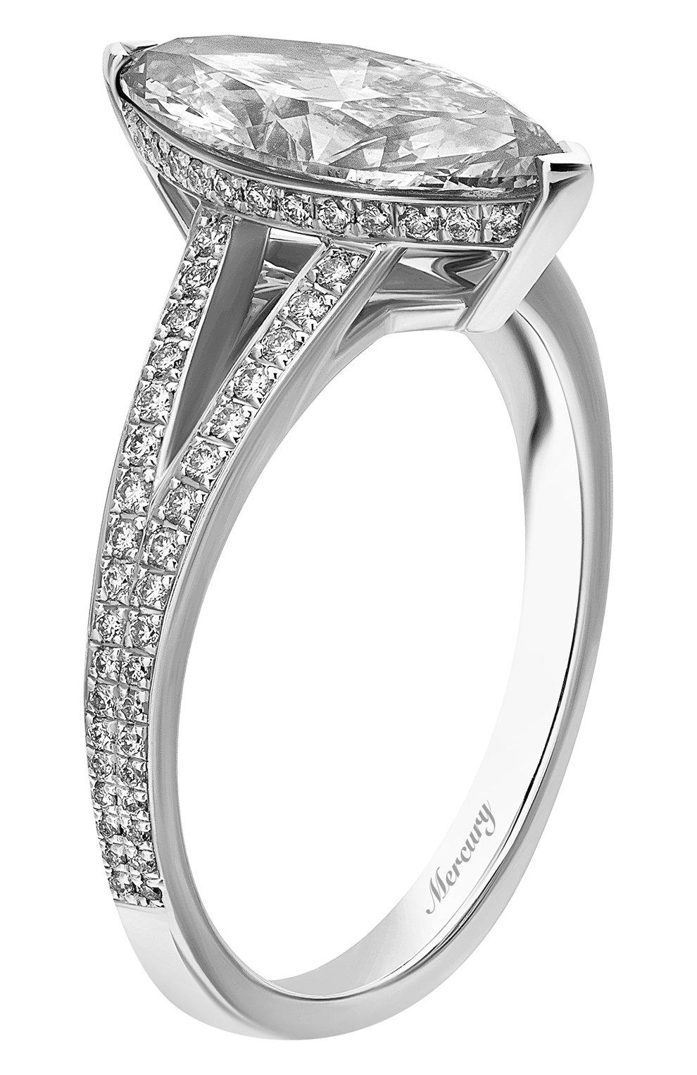 Женские кольцо MERCURY бесцветного цвета, арт. MR200WMDD | Фото 4 (Материал сплава: Белое золото; Драгоценные камни: Бриллианты)