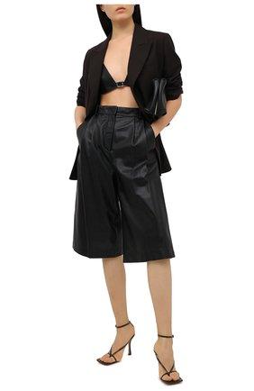 Женская кожаный топ SAINT LAURENT черного цвета, арт. 635225/YCDI2 | Фото 2