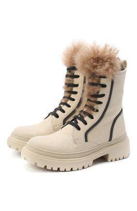 Женские замшевые ботинки BRUNELLO CUCINELLI белого цвета, арт. MZATG1914 | Фото 1