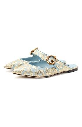 Женские комбинированные сабо bellucci DOLCE & GABBANA голубого цвета, арт. CI0129/AW166 | Фото 1