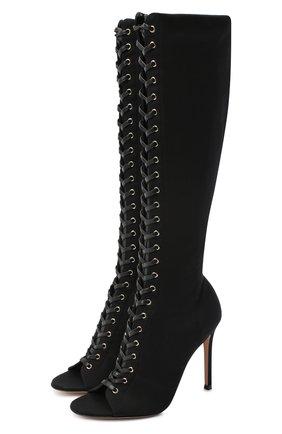 Женские текстильные сапоги GIANVITO ROSSI черного цвета, арт. G50612.15RIC.TWHNER0   Фото 1