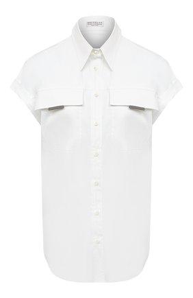 Женская хлопковая рубашка BRUNELLO CUCINELLI белого цвета, арт. M0091MQ316 | Фото 1
