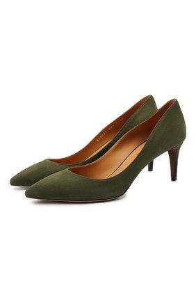 Женские замшевые туфли RALPH LAUREN хаки цвета, арт. 800838027 | Фото 1