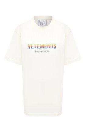 Женская хлопковая футболка VETEMENTS белого цвета, арт. UE51TR620W 1611/W   Фото 1