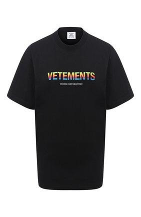 Женская хлопковая футболка VETEMENTS черного цвета, арт. UE51TR620B 1611/W | Фото 1