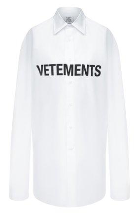 Женская хлопковая рубашка VETEMENTS белого цвета, арт. UE51SH300W 1004/W   Фото 1