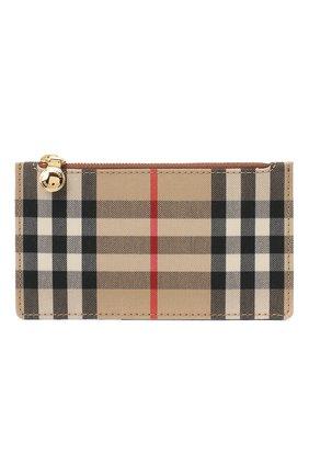Женский кожаный футляр для кредитных карт BURBERRY коричневого цвета, арт. 8035624 | Фото 1