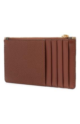 Женский кожаный футляр для кредитных карт BURBERRY коричневого цвета, арт. 8035624 | Фото 2