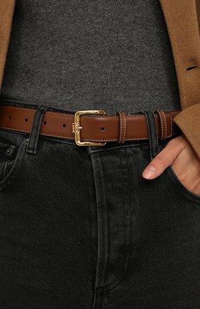 Женский кожаный ремень BURBERRY коричневого цвета, арт. 8033030 | Фото 2 (Материал: Кожа)