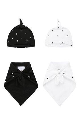 Детский комплект из двух шапок и нагрудников BURBERRY черно-белого цвета, арт. 8037875 | Фото 1