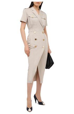 Женское хлопковое платье BALMAIN бежевого цвета, арт. VF16803/D086 | Фото 2