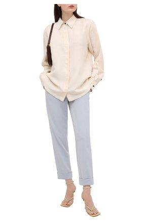 Женские шерстяные брюки GIORGIO ARMANI голубого цвета, арт. 1SHPP0G5/T01HK | Фото 2