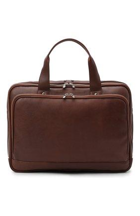 Мужская кожаная сумка для ноутбука BRUNELLO CUCINELLI коричневого цвета, арт. MBSBU391 | Фото 1