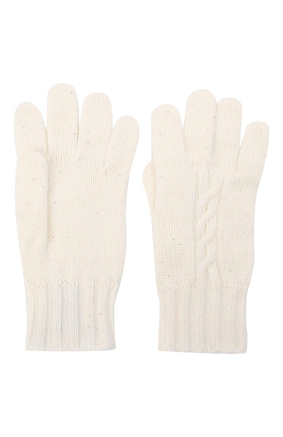 Детские перчатки из кашемира и шелка LORO PIANA белого цвета, арт. FAL4479 | Фото 2