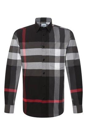 Мужская хлопковая рубашка BURBERRY серого цвета, арт. 8023772 | Фото 1