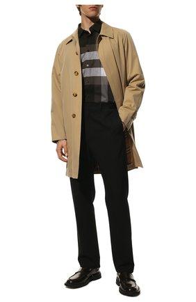 Мужская хлопковая рубашка BURBERRY серого цвета, арт. 8023772 | Фото 2