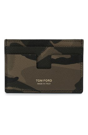 Мужской кожаный футляр для кредитных карт TOM FORD хаки цвета, арт. Y0232T-ICL022 | Фото 1