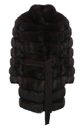 Женская шуба из меха соболя KITON темно-коричневого цвета, арт. D50584X04R72   Фото 1