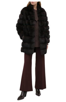 Женская шуба из меха соболя KITON темно-коричневого цвета, арт. D50584X04R72   Фото 2