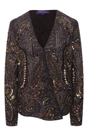 Женская шелковая блузка RALPH LAUREN коричневого цвета, арт. 290825042   Фото 1