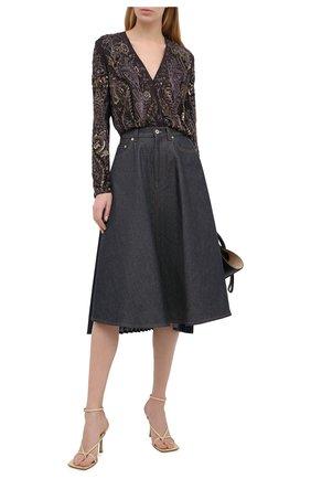Женская шелковая блузка RALPH LAUREN коричневого цвета, арт. 290825042   Фото 2