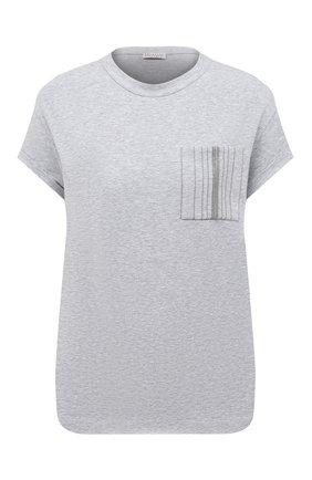 Женская хлопковая футболка BRUNELLO CUCINELLI светло-серого цвета, арт. M0T18BF800   Фото 1