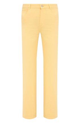 Женские джинсы LORO PIANA желтого цвета, арт. FAL5553   Фото 1 (Длина (брюки, джинсы): Стандартные; Материал внешний: Хлопок; Силуэт Ж (брюки и джинсы): Прямые; Кросс-КТ: Деним; Стили: Кэжуэл)