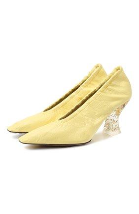 Женские кожаные туфли BOTTEGA VENETA желтого цвета, арт. 651356/VBP10 | Фото 1