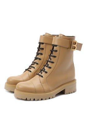 Женские кожаные ботинки ranger romy BALMAIN бежевого цвета, арт. VN1C502/LGDT | Фото 1
