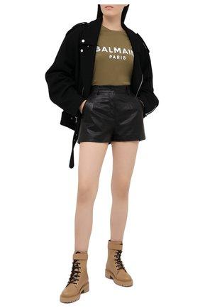Женские кожаные ботинки ranger romy BALMAIN бежевого цвета, арт. VN1C502/LGDT | Фото 2